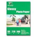 Papel Foto Glossy 210grs 5R 13x18 cm. 100hjs