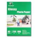 Papel Foto Glossy 210grs A5 15x21 cm. 100hjs
