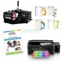 Super pack sublimación tazones 4 en 1. Estampadora, impresora, papeles y accesorios