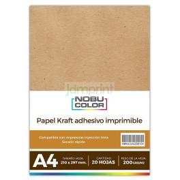 Papel Foto Kraft adhesivo imprimible A4 230 gr. 20 hojas