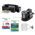 Pack Estampadora de tazones neumatica + Epson L380 Sublimación + papeles + 6 tazones