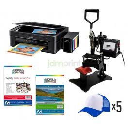 Pack Estampadora De Gorro + Multifuncional Epson L380 tinta Sublimación