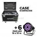 6 Par LED 18x10w RGBW 4 en 1 + Case 6 espacios
