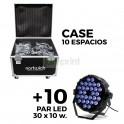 10 Par LED 30x10w RGBW 4 en 1 + Case 10 espacios