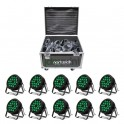 Pack 10 Par Led 18x12w RGBWA 5en1 + Case 10 espacios (10 en 1)
